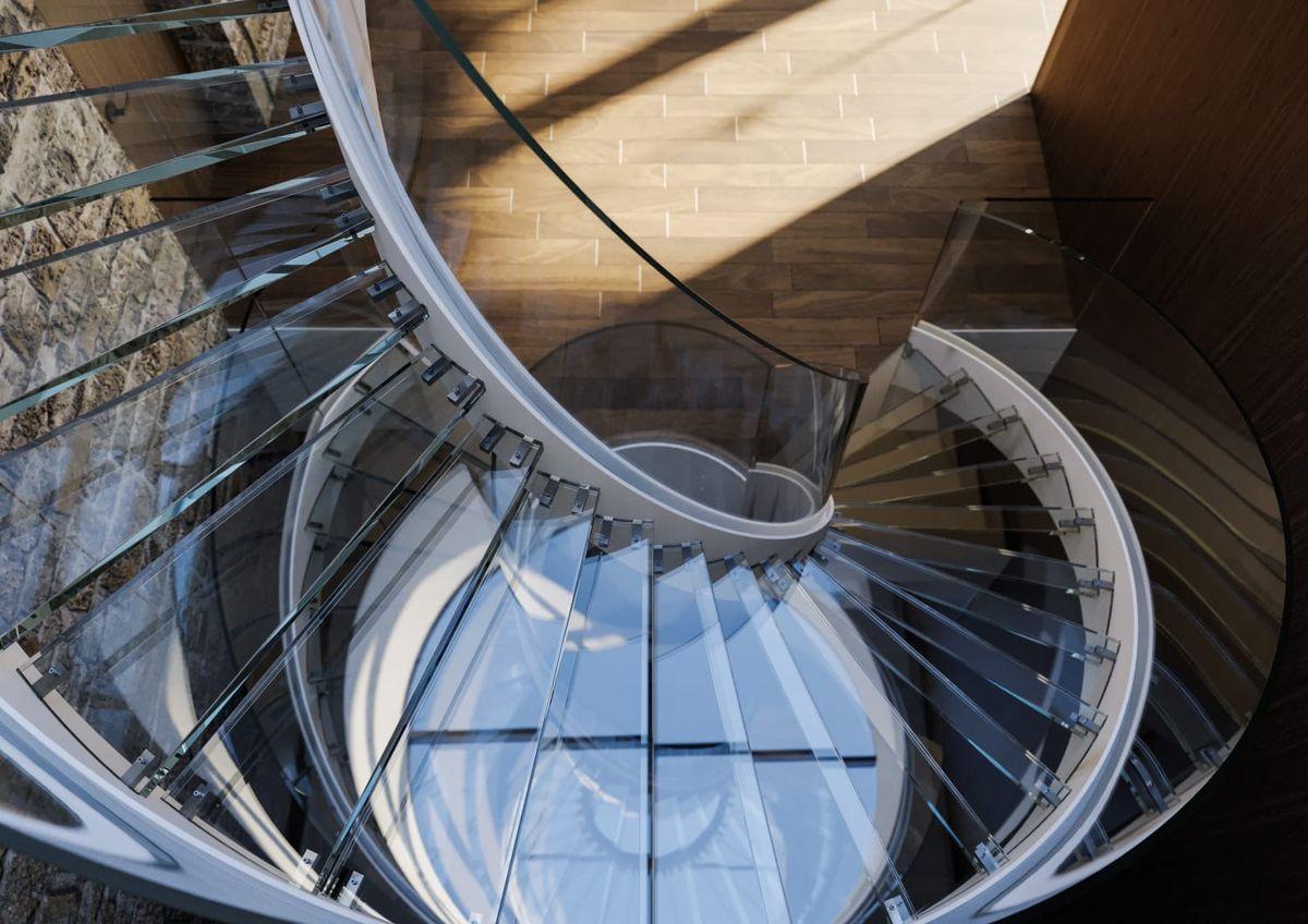 Spiral Staircase with Glass Steps, Zlín, Czech Republic